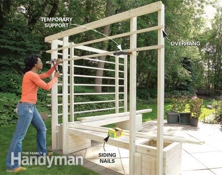 How to Build an Arbor with Built-in Benches - Step by Step: The Family Handyman
