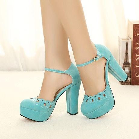Cute cut-out tip binding thick heel girls pumps