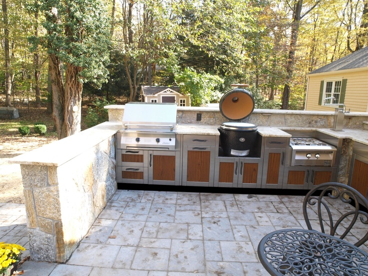 Danver Stainless: Wood Grain Finish Insert Panel Outdoor Kitchen With  Charcoal Fired Smoker Grill Www
