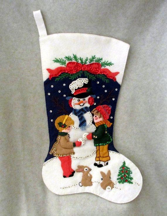 Vintage calcetín de Navidad hechos a mano bordado