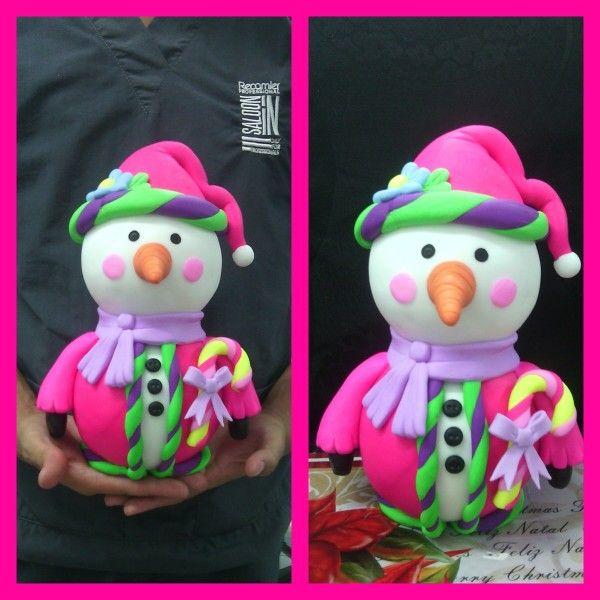 Muñeco de nieve en colores neón