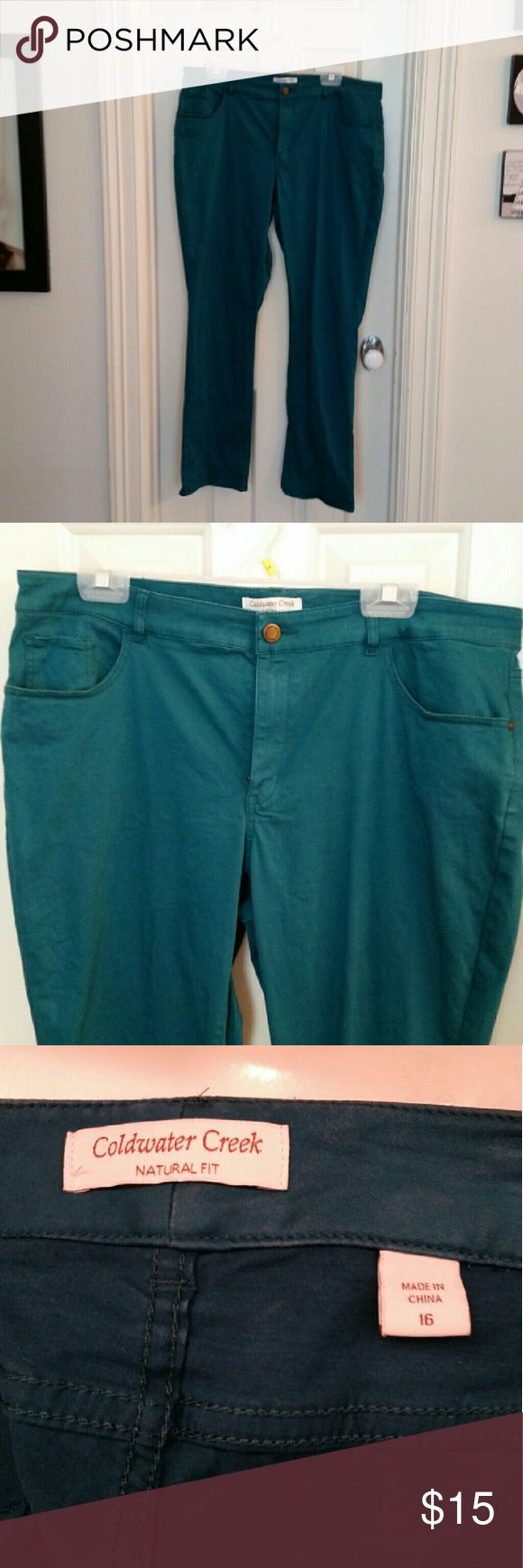 CWC teal pants Twill slacks are lightweight and have a lot of stretch. Coldwater Creek Pants