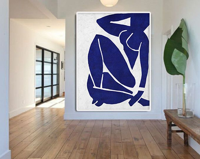 Hand made blue white painting minimalist abstract art canvas art large wall art home decor acrylic painting on canvas