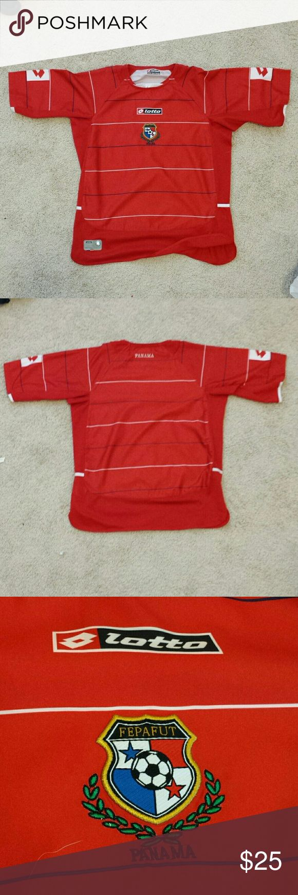Classic Panama soccer jersey Beautiful red classic Panama national team jersey. Size small. Authentic by lotto. Panama logo is stitched on jersey. Jersey looks like new. Average price for this jersey, year and condition is $70 lotto Shirts Tees - Long Sleeve