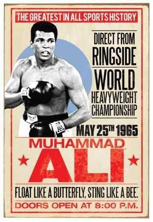Cuadro de Muhammad Ali, promoción pelea antigua.
