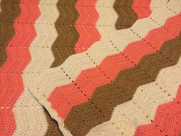 Crochet Afghan Blanket Chevron Multi Color Geometric Brown Ivory Peach Handmade #Handmade