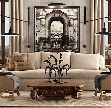 Find this Pin and more on Restoration Hardware Livingroom. architectural  elements in this neutral living room ... - 83 Best Restoration Hardware Livingroom Images On Pinterest