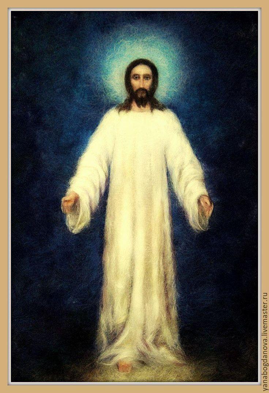 Купить Спас в белом хитоне - синий, икона, спас, Иисус Христос, картина, живопись шерстью