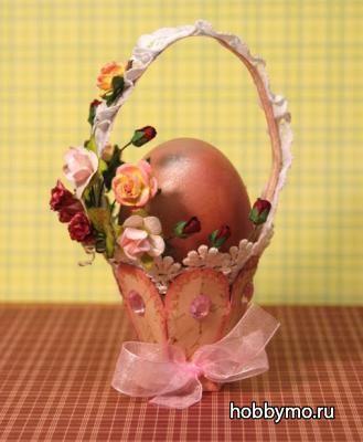 Корзинка для пасхальных яиц из бумаги