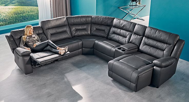 Large corner modular lounge made with leather. Features electric-powered recliner a console for storage and a chaise & 24 best Lounge suites adelaide images on Pinterest   Lounge suites ... islam-shia.org