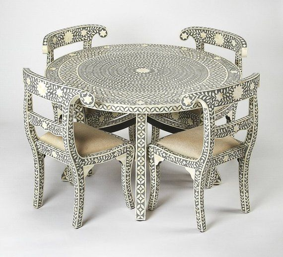 Grey Bone Inlay Geometric Pattern Dining Table And Four Chair Set