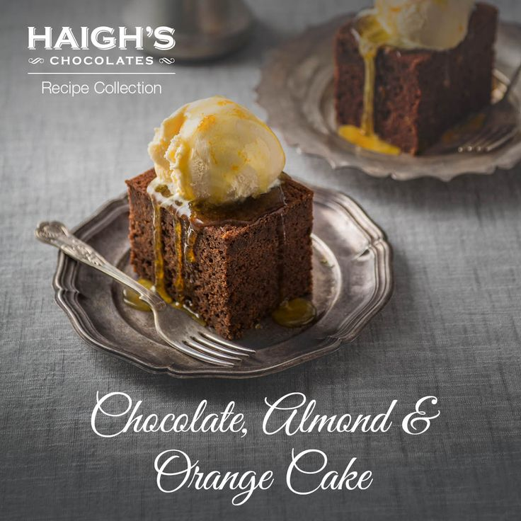Haigh's Chocolate, Almond & Orange Cake. This delicious Chocolate, Almond & Orange cake is made with oranges and Haigh's 70% cocoa dark chocolate pastilles. Serve with with creamy vanilla ice cream.