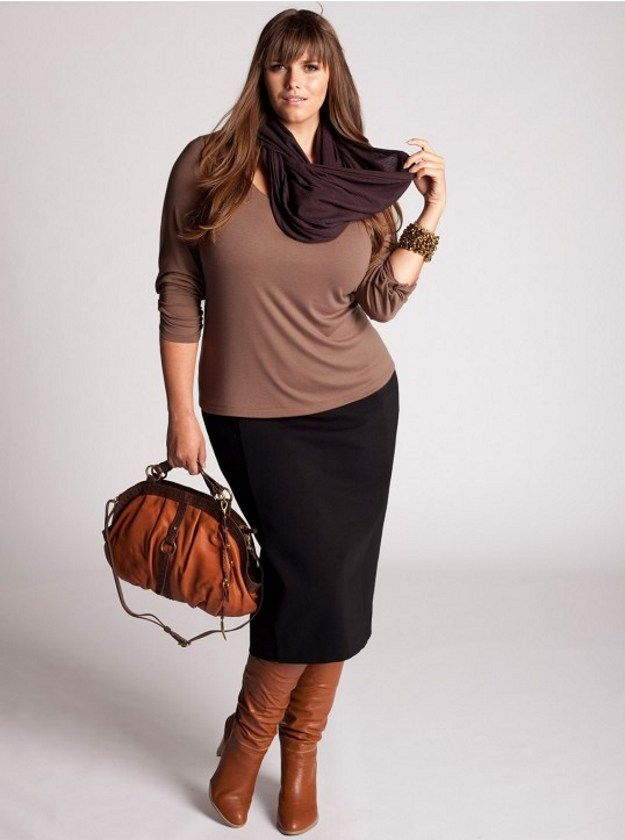 Mid-calf Pencil Skirt and Boots | Plus Size Fall Fashion Looks, check it out at http://youresopretty.com/plus-size-fashion