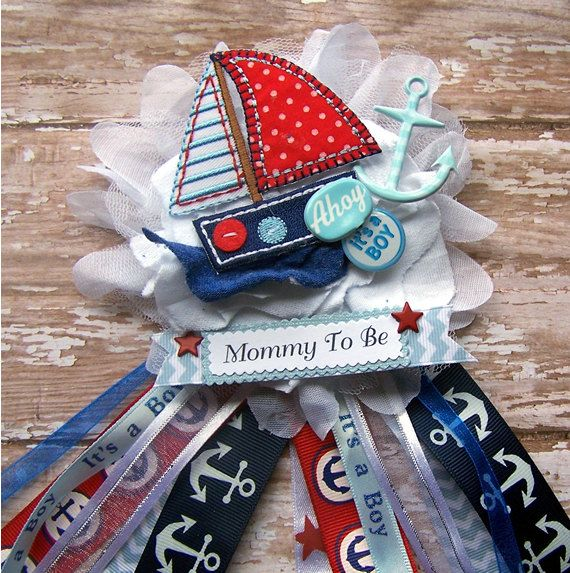 Ahoy Its a Boy Nautical Corsage Nautical Baby by BloomingParty, $18.00