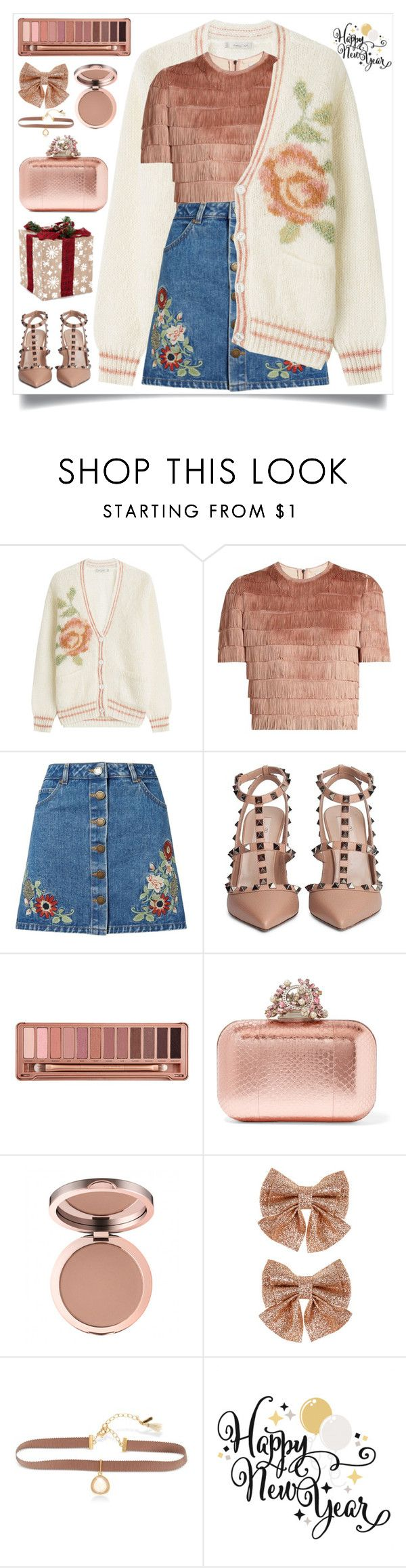 """""""Happy New Year"""" by itsybitsy62 ❤ liked on Polyvore featuring Mes Demoiselles..., Raey, Miss Selfridge, Valentino, Urban Decay, Jimmy Choo, Monsoon, Lonna & Lilly and rosegold"""