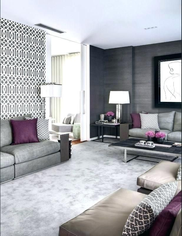 Grey And Purple Living Room Wallpaper