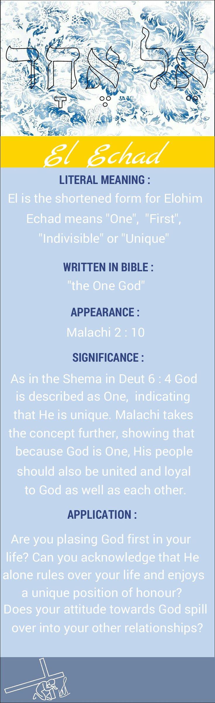 Names of God El Echad The One God