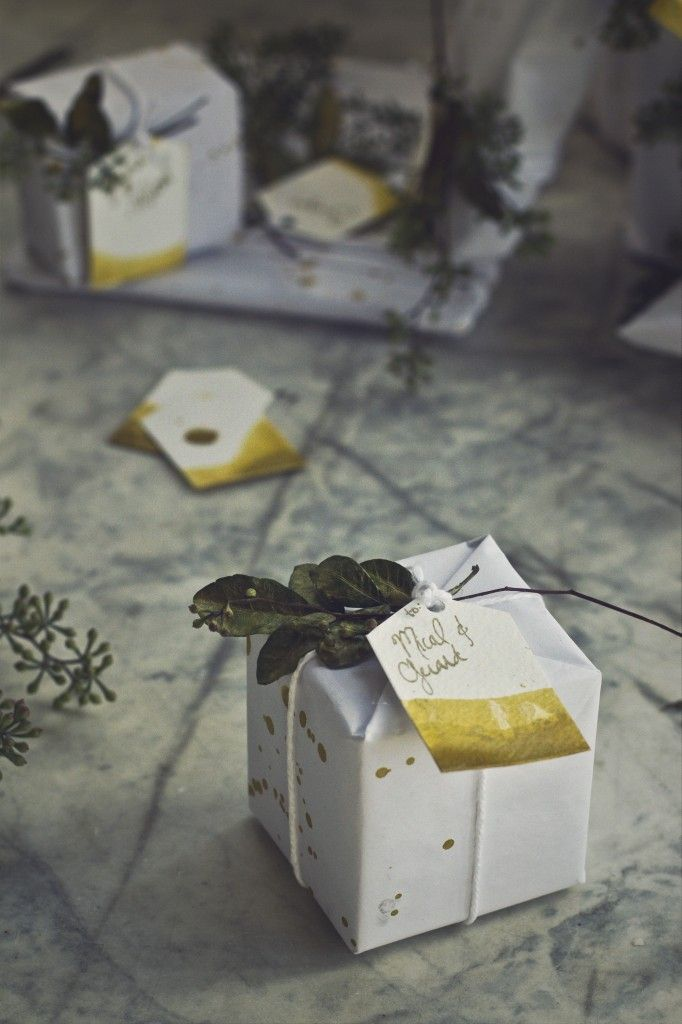 DIY Splatter Gold Paper, Gold Dipped Tags, and Gold Leaves