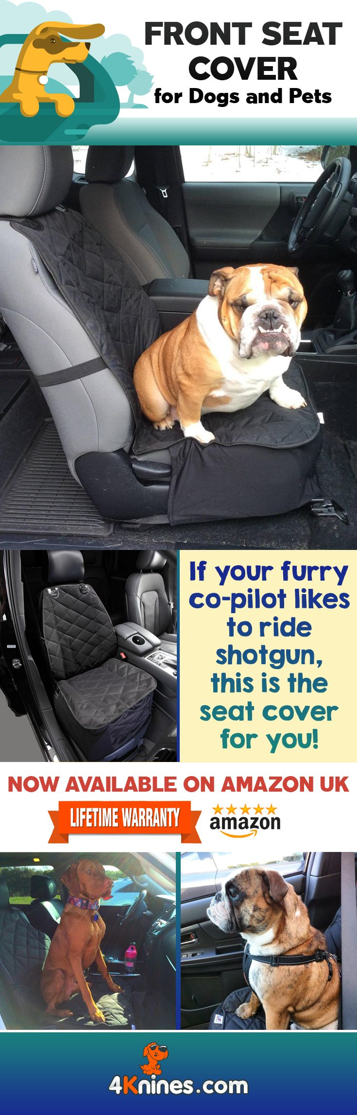 If your furry friend likes to call shotgun, 4Knines Front Seat Covers will protect your seat and keep it presentable for your 2 legged passengers. https://www.amazon.co.uk/4Knines-Bucket-Cover-Trucks-Black/dp/B00KAFYNTE/