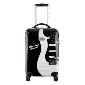 Valise rigide 4 roues Guitare noir et blanc 41 x 60 x 26 cm - 63 L