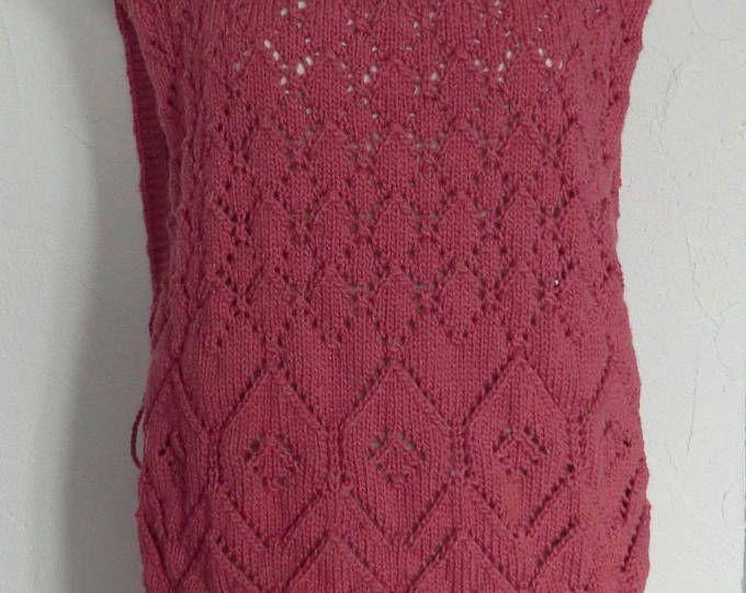 Poncho - Tunique avec franges - Femme - En laine - Motifs points ajourés - Taille 38 - 40 - Tricoté à la main