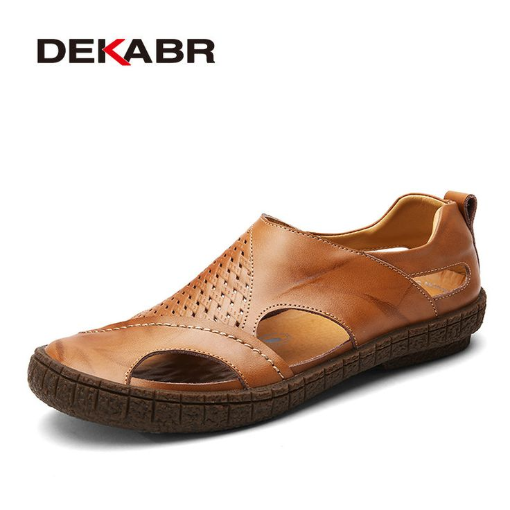 DEKABR Brand Summer Beach Shoes 2017 Fashion Designers Men Sandals Split Leather Slippers For Men Slip On Casual Shoes Men #Affiliate