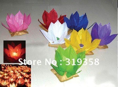 50pcs/lot Paper Lotus Flower Floating Lantern Wishing Lamp,lotus flower lamp / Wishing Birthday Wedding Christmas Party Lamp US $44.60
