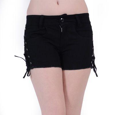 Fast korte broek shorts met corset vetering zwart - Emo Gothic Metal Glamrock