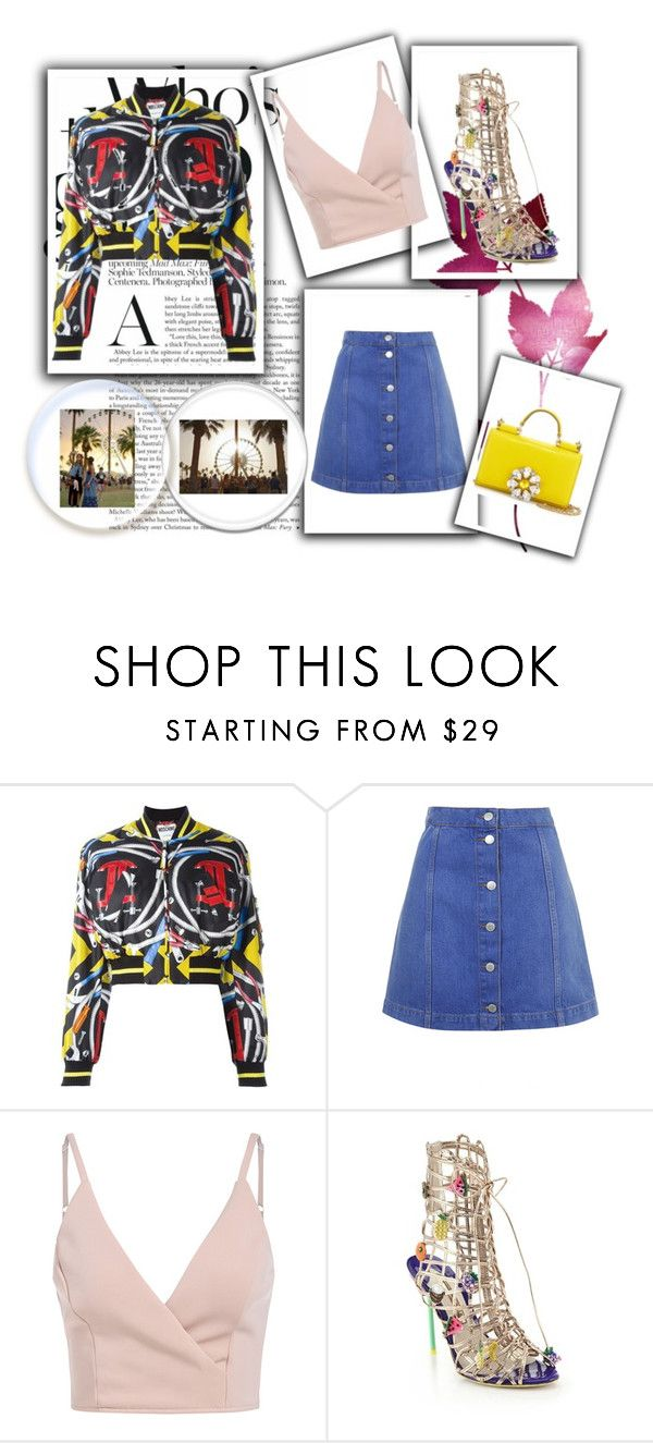 """Pre Coachella"" by any-dazaperez ❤ liked on Polyvore featuring Moschino, Topshop, Sophia Webster, Été Swim and Dolce&Gabbana"