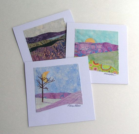 Scrap project - Fabric Collage Note Cards Seasonal by LauraGlassArtQuilts
