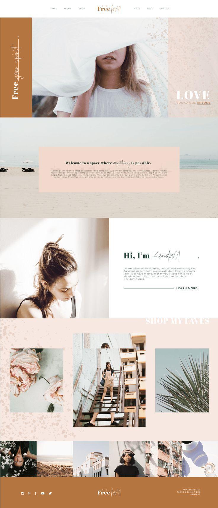 Samantha Website Blog Social Media Bundle Blog Graphics Kit In 2020 Web Layout Design Web Design Inspiration Site Design