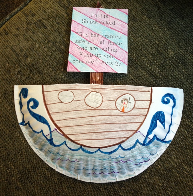 Paul is shipwrecked (Acts 27). Paper plate craft