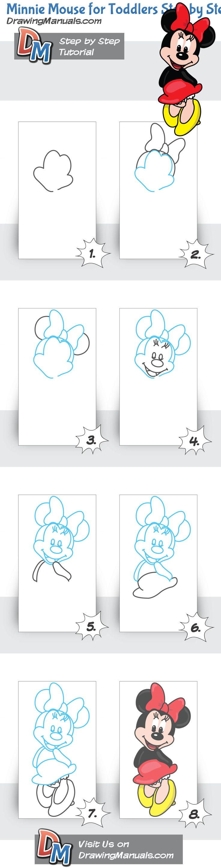 Minnie Mouse for Toddlers Step by Step Drawing Lesson http://drawingmanuals.com/manual/minnie-mouse-for-toddlers-step-by-step-drawing-lesson/ #drawing #kids #toddlers #illustration #cartoons