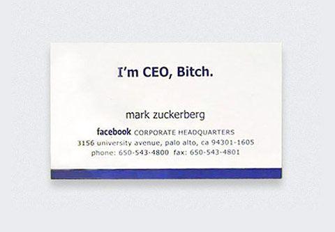 ザッカーバーグの名刺。このビッグビート感すごい。 #fb