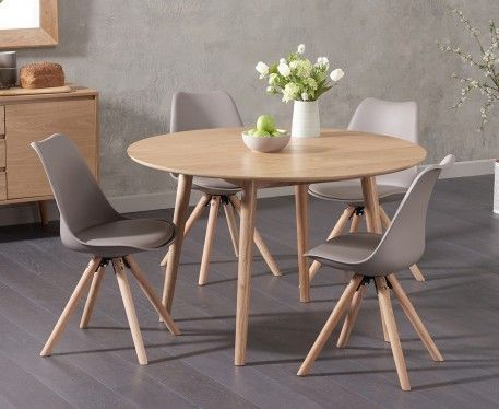 nordic 120cm round oak dining table with oscar faux leather round leg chairs - Round Oak Dining Table
