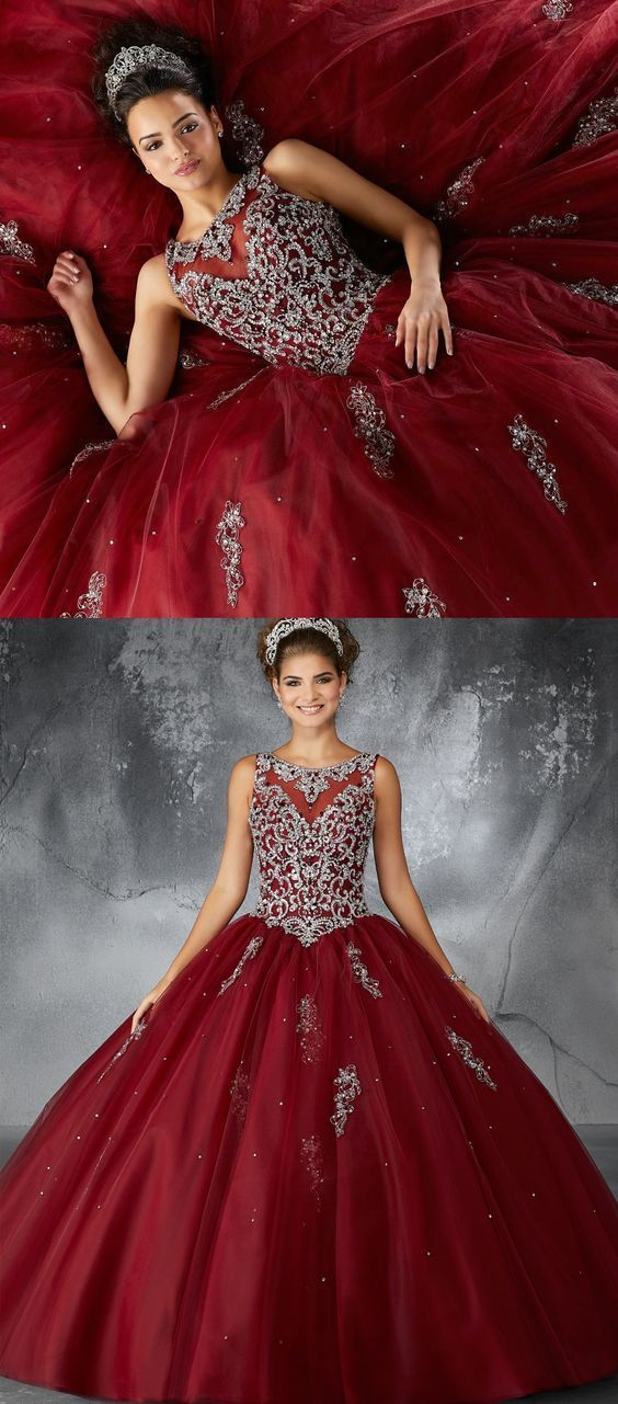 59e22dee744 Ball Gown Bateau Dark Red Tulle Quinceanera Dress with Appliques and  Beading Gold Prom Dresses