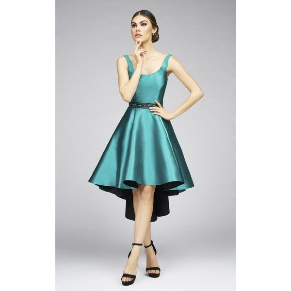 Mac Duggal 25012I Prom ShortDress High-Low  Sleeveless ($378) ❤ liked on Polyvore featuring dresses, cocktail dresses, emerald green, glitter prom dresses, short formal dresses, high low dresses, hi lo dresses and formal dresses