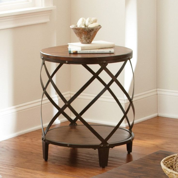 Steve Silver Winston Round Distressed Tobacco Wood and Metal End Table | from hayneedle.com