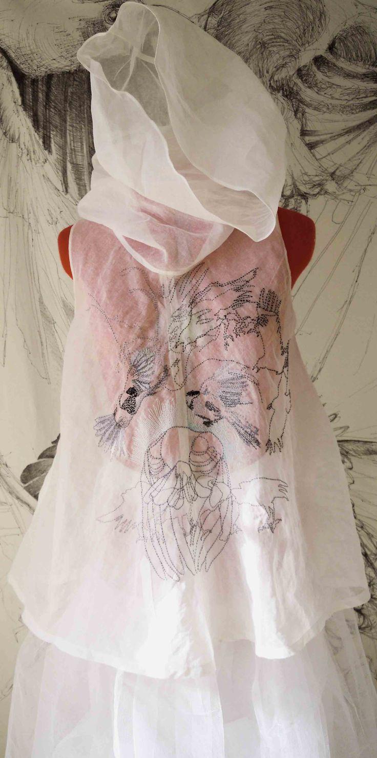 Embroidered cotton organza J.Brewis
