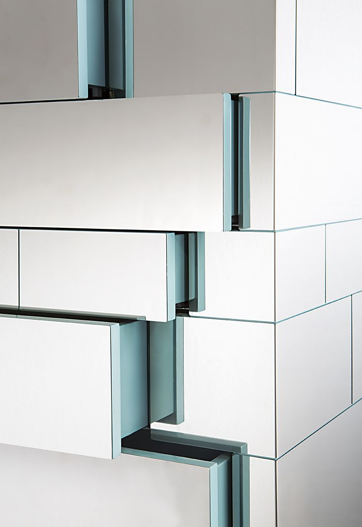 CELATO chest of drawers #stainlesssteel #drawer #mirror #lacqueredwood #aqua #decastelli #furniture #limitededition