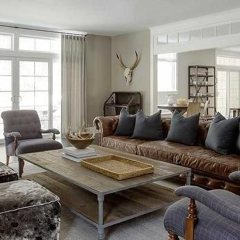 Brown Leather Chesterfield Sofa with Dark Grey Pillows, Country, Dining Room