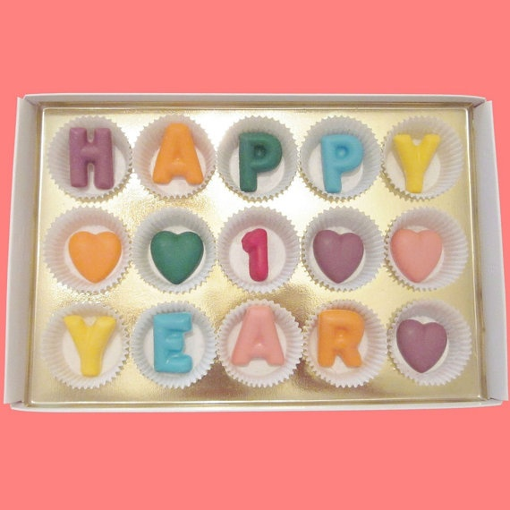 Happy 1 Year Large MultiColor Chocolate by chocolatesays on Etsy, $24.99
