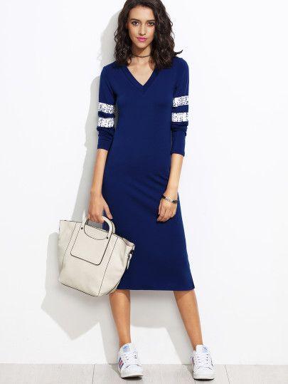 Blue V Neck Varsity Striped Jersey Sheath Dress