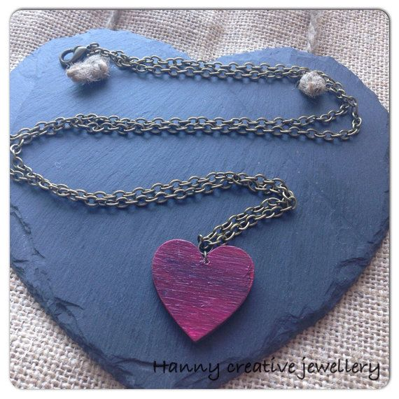 Necklace, Wooden heart pendant