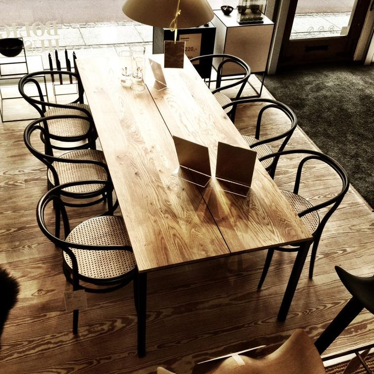 LESS IS MORE TABLE in wild oak with classic THONET chairs - seen at Bolighuset Ry in Denmark. #dk3 #LESS #IS #MORE #TABLE #Danish #Design #Furniture www.dk3.dk