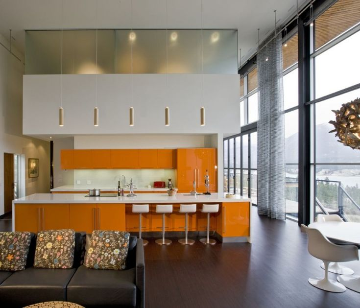 Although the cabinets are too orange, everything else is wonderful.  Love the kitchen layout and large, steel windows,