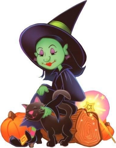 green witch with black cat - Witch Decorations