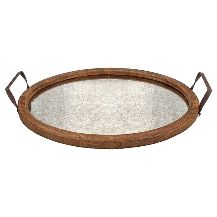 Stonebriar Oval Rustic Wooden Tray With Distressed Mirror Target Distressed Mirror Mirror Tray Decor Wood Candle Tray