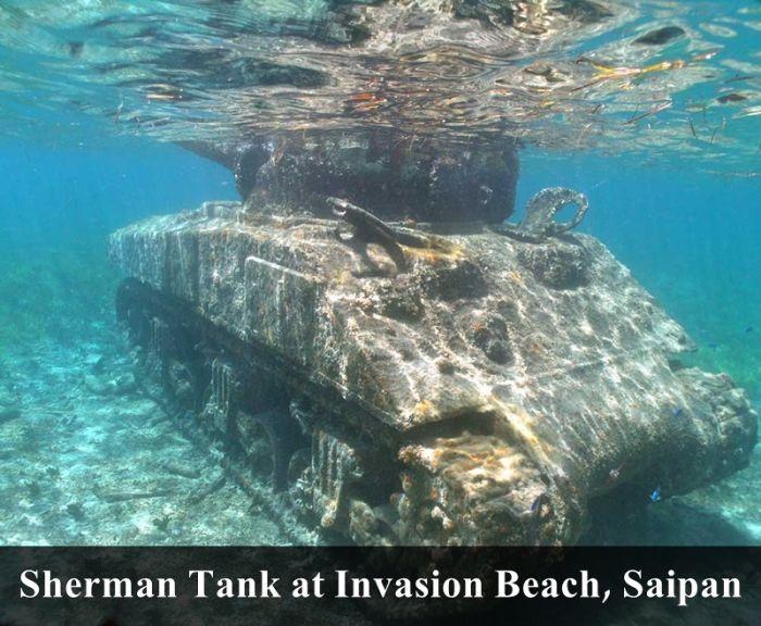Abandoned places. Underwater abandonment, sunken tank ... Sunken Tank