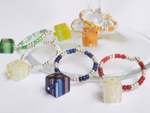 Millefiori glass wine charms x 6 multi color by handmadeintoronto, $21.00
